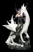Elfen Figur - Dragolina sitzt auf Drachen