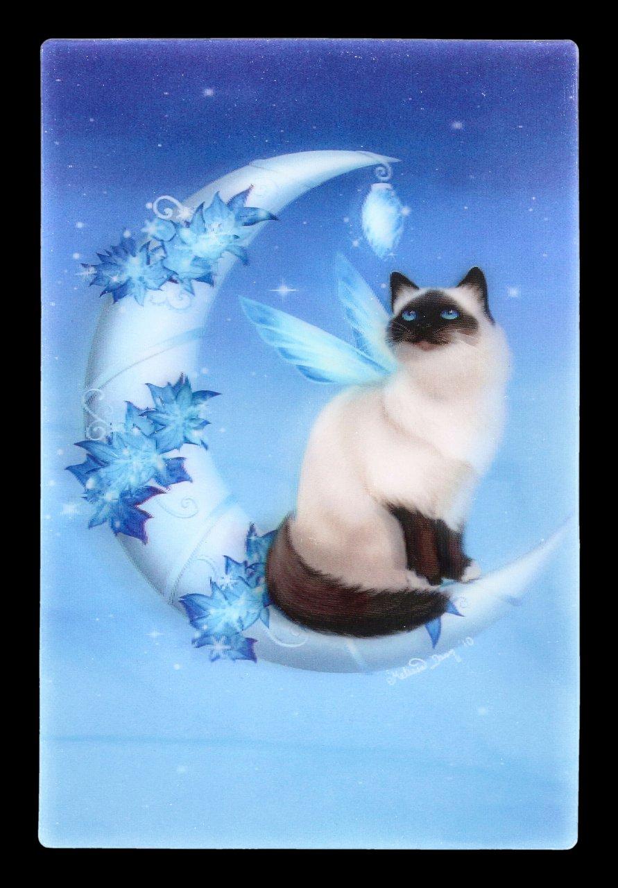 3D Postkarte mit Katze - Winter Moon Cat