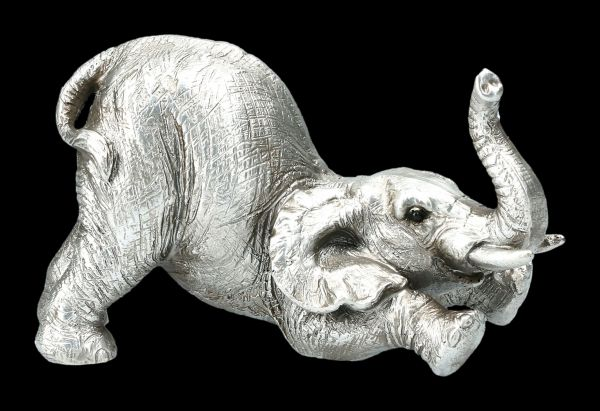 Elephant Figurine - Arching - Antique Silver