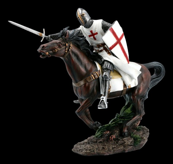 Templar Knight Figurine on Horse with Sword