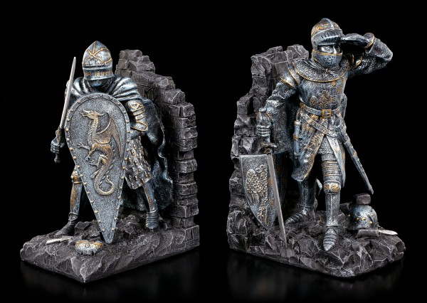 Bookend Set - Knights with Dragon Shield
