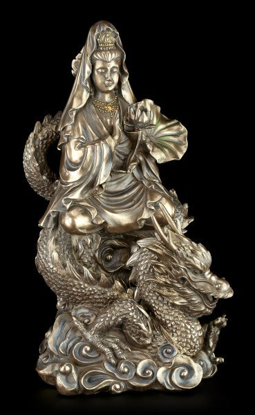Chinesische Götter Figur - Kwan Yin reitend auf Drachen