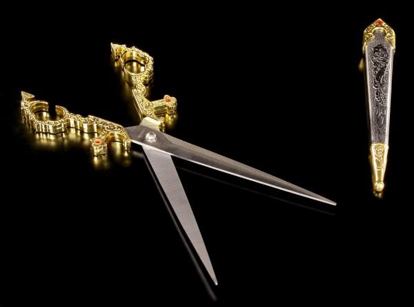 Mittelalterliche Schere mit Scheide - Goldfarben