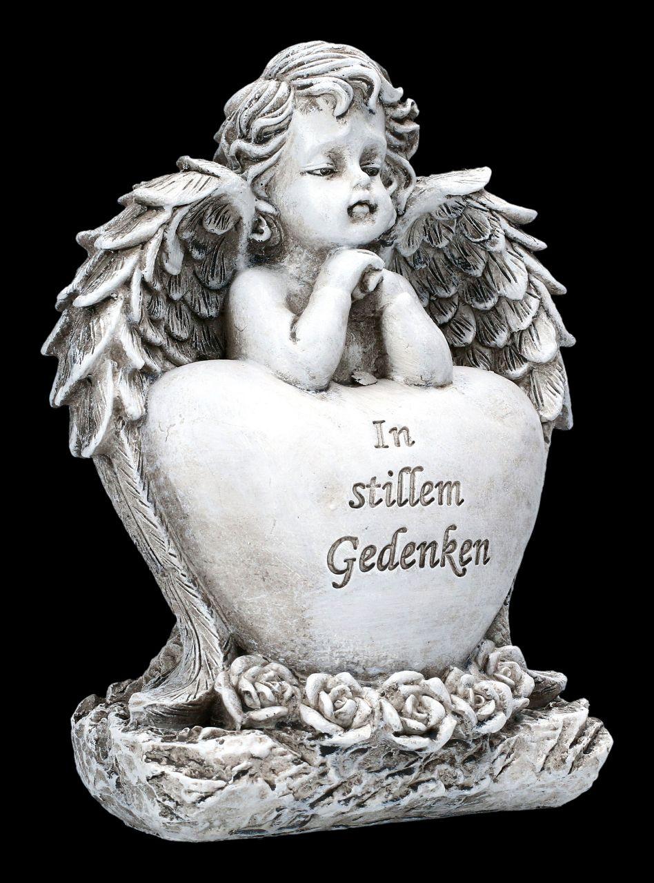 Grabengel Figur mit Herz - In stillem Gedenken