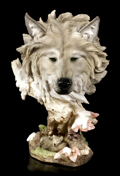 Große Wolfskopf Büste - Winterschlaf