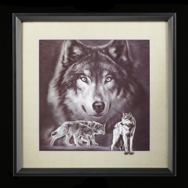 5D Bild im Rahmen - Grey Wolf