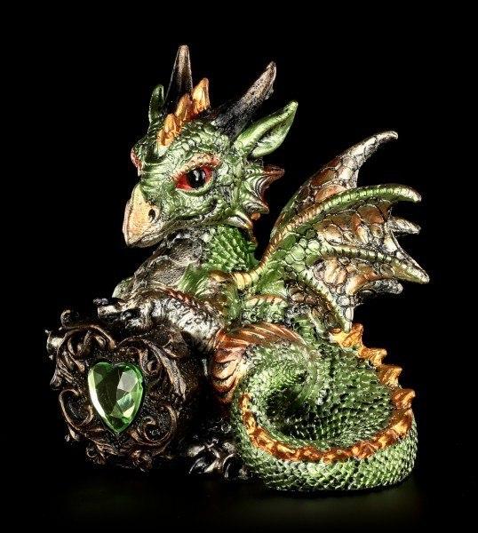 Drachen Figur - Malachite mit Kristallherz