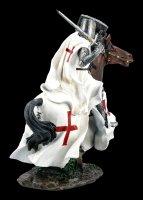 Templar Knight Figurine on Horse in full Galopp