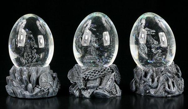 Drachen in Eiern - Schneekugel 3er Set