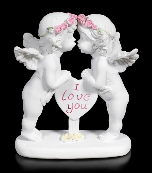 Zwei weiße Cherubim Figuren - I Love You