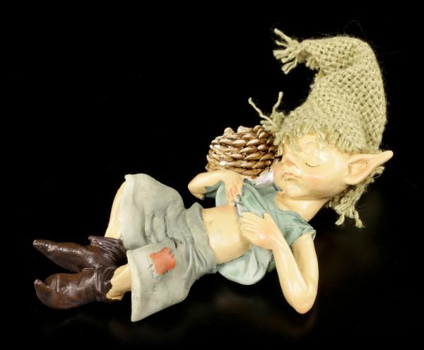 Pixie Kobold Figur kuschelt mit Igel - Sicherer Schlaf