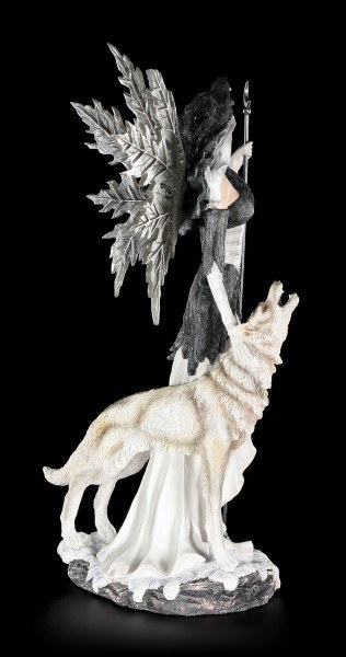 Fairy Figurine with Wolf - Guardian of the Moon large
