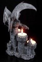 Drachen-Teelichthalter - Vier Burgtürme mit Drache