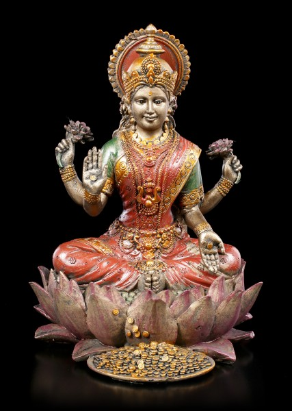 Lakshmi Figurine on Lotus Flower bronze colored