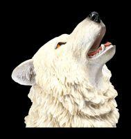 Wolf Figur groß - Weiß heulend