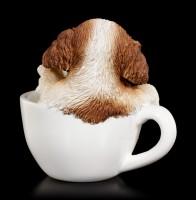 Hunde Figur mini - Spaniel Welpe in Tasse
