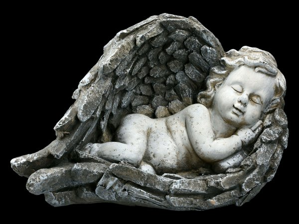 Garden Figurine - Sleeping Angel in Stone Look
