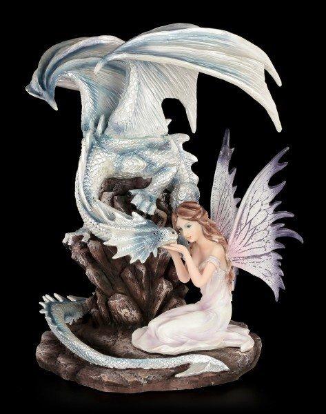 Elfen Figur mit weißen Drachen - Zada und Silverline