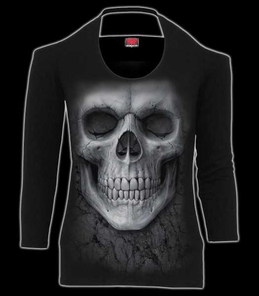 Damen Longsleeve Top Totenkopf - Solemn Skull