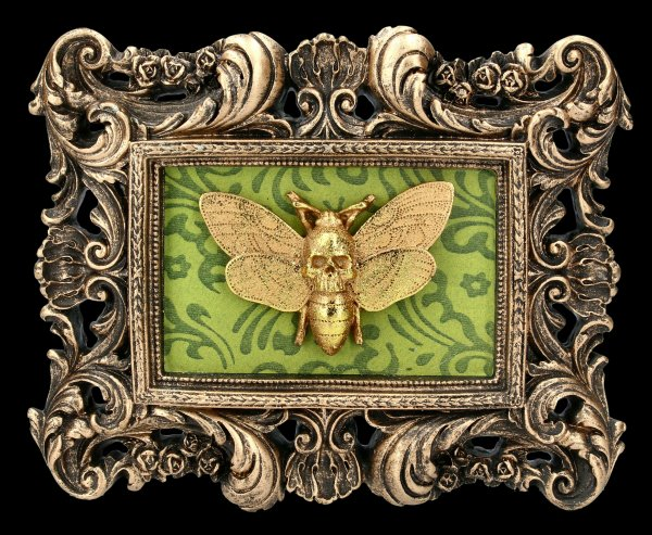 Baroque Wall Plaque - Moth Macabre - rectangular