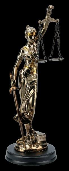 Justitia Figurine on Pedestal - gold-colored small