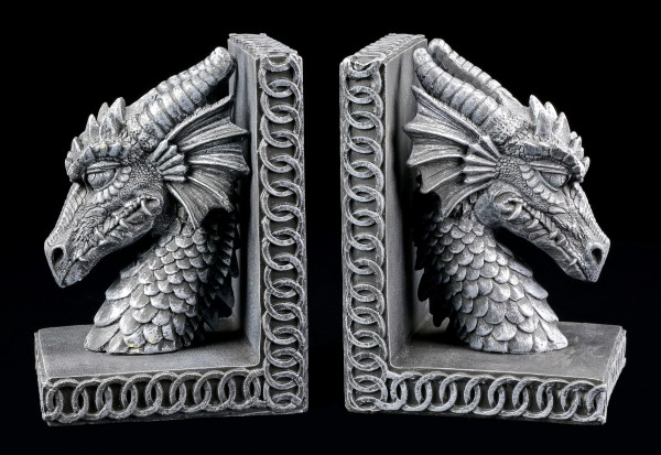Drachenköpfe Buchstützen