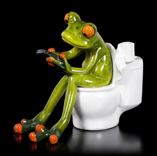 Funny Frog Figurine - On the Toilet