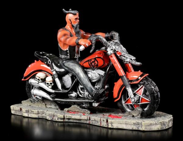 Teufel Figur auf Motorrad - The Devil's Road