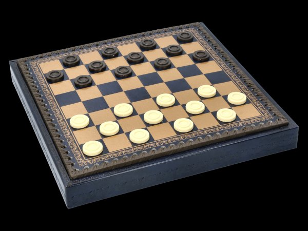 Öko-Leder Schachbrett & Dame Box