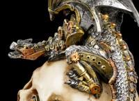 Steampunk Dragon on Skull - Steel Wing