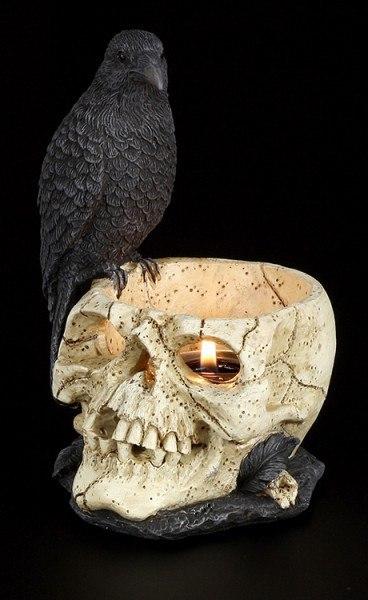 Teelichthalter Rabe auf Totenkopf