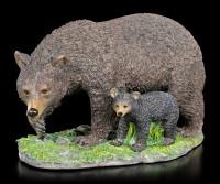 Black Bear Figurine with Cub