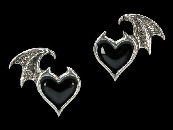 Alchemy Gothic Heart Ear Studs - Blacksoul