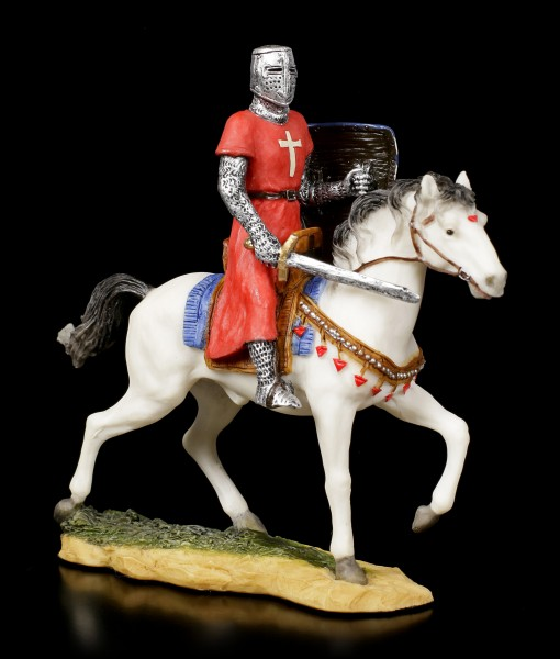 Small Knight Figurine on Horse with Lion Shield