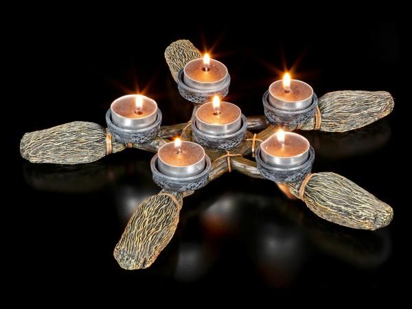 Tealight Holder - Broomstick Pentagram