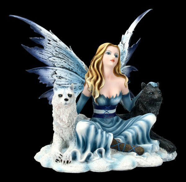 Fairy Figurine - Ilais with black and white wolf