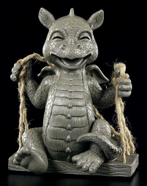 Garden Figurine - Laughing Dragon on Swing