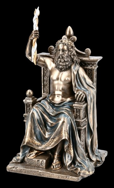 Zeus Figurine - God Father on Throne with Lightning
