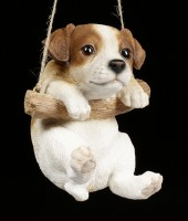 Garden Figurine - Jack Russel hanging on swing