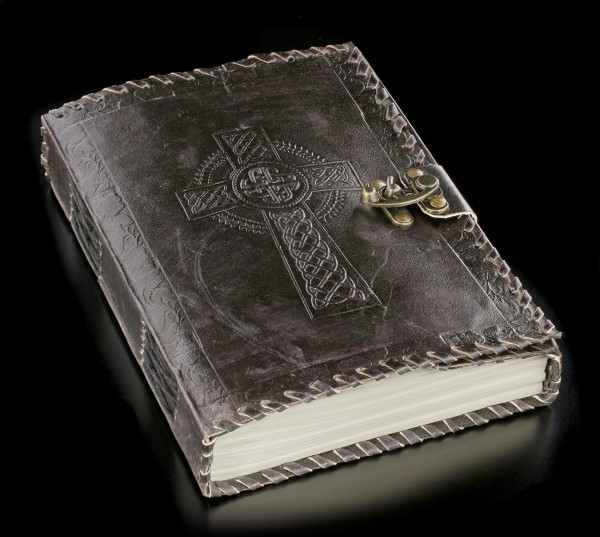 Leather Journal with Lock and Celtic Cross