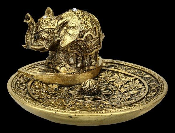 Incense Stick Holder - Indian Elephant - gold colored