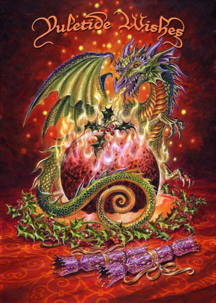 Dragon Christmas Card - Flaming Dragon Pudding