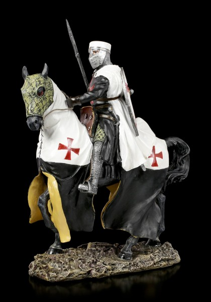 German Templar Knight Figurine on Horse with Spear
