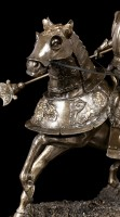 Knight Figurine on Horse with Lance - bronzed