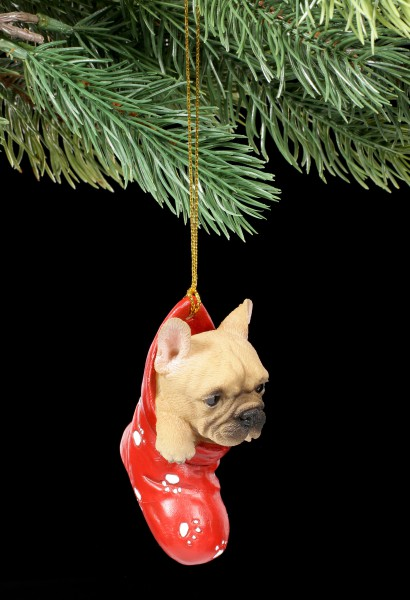 Christmas Tree Decoration Dog - French Bulldog in Stocking