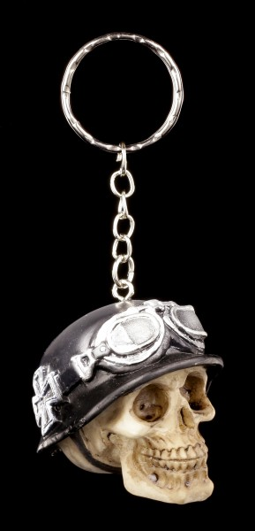 Skull Keyring - Iron Cross with Biker Helmet