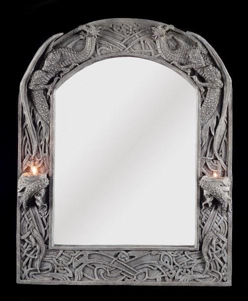 Drachen Spiegel mit Teelicht- o. Kerzenhalter