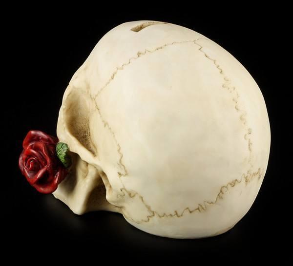 Totenkopf Spardose mit Rose