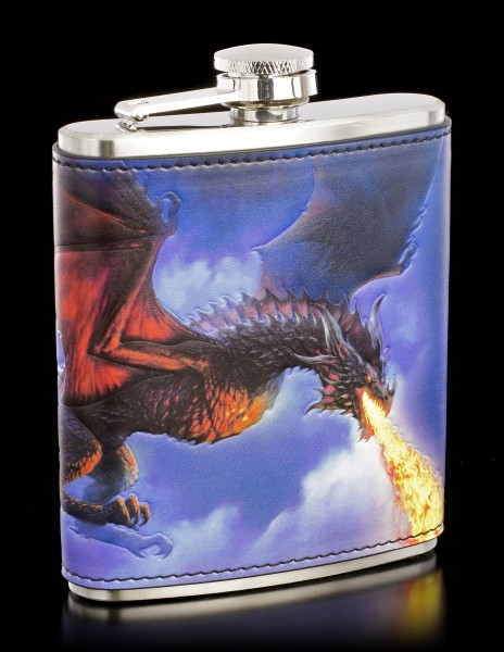 Hip Flask with Dragon - Fire from the Sky