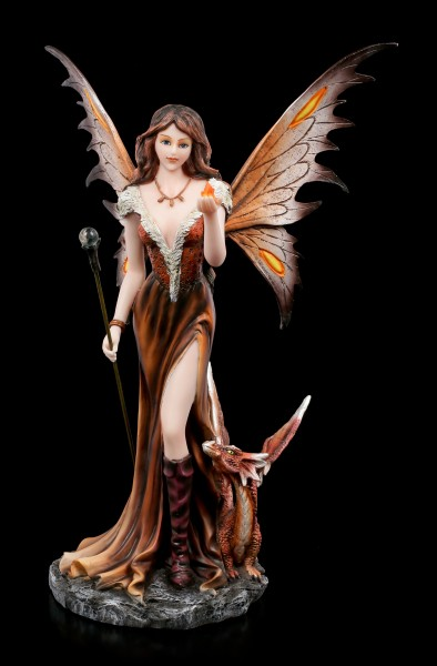 Fire Fairy Figurine - Marrona with Dragon